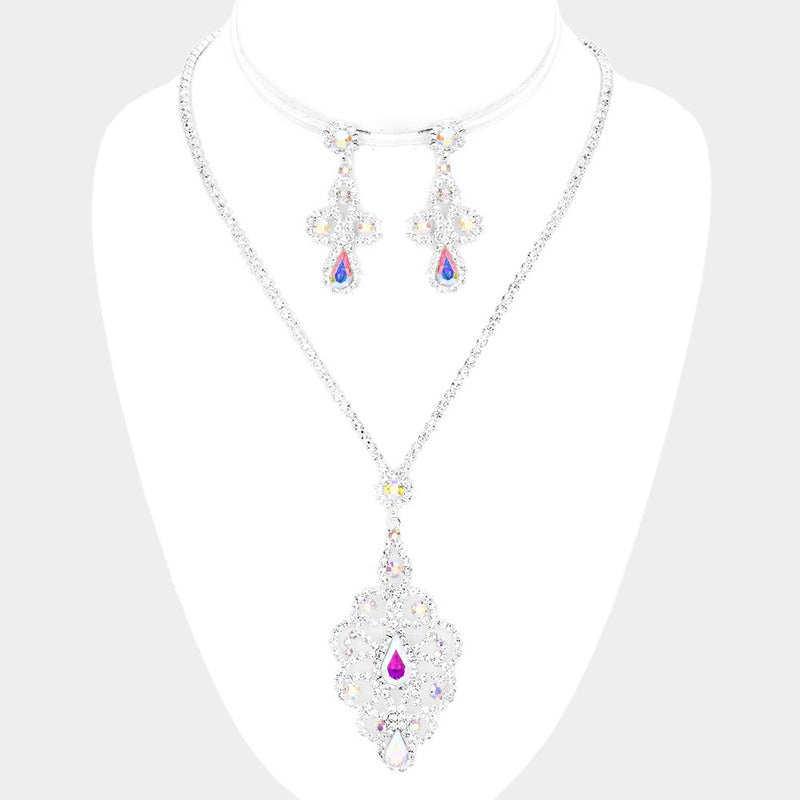 Teardrop Iridescent Pendant Set