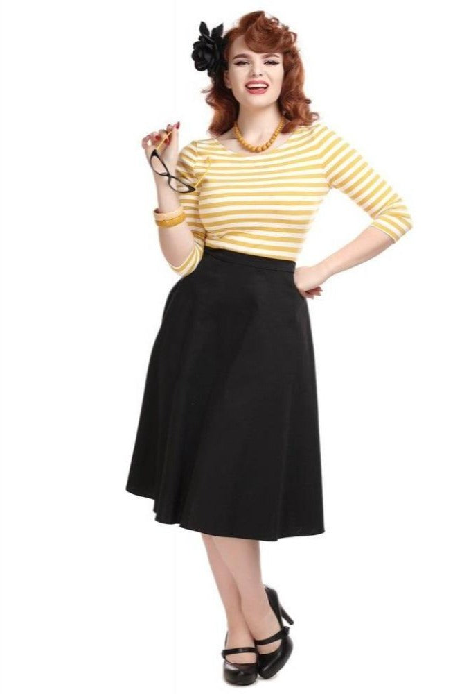 Classic Cotton Swing Skirt in Black