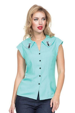 Kitty Kasey Retro Aqua Blouse