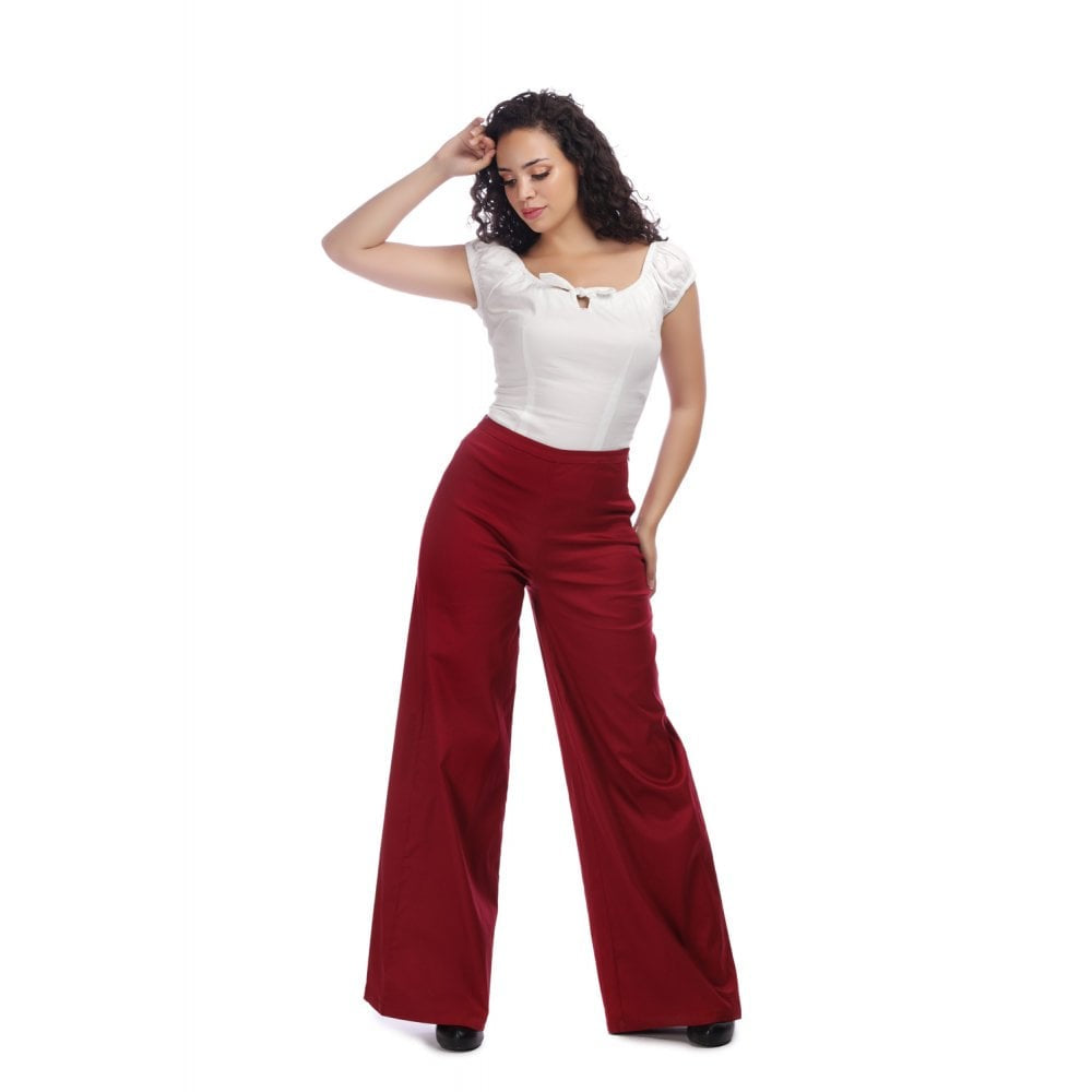 Classic Cotton Trousers in Burgundy