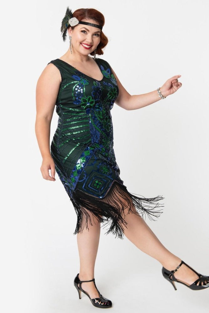 Charvelle Flapper Dress in Peacock