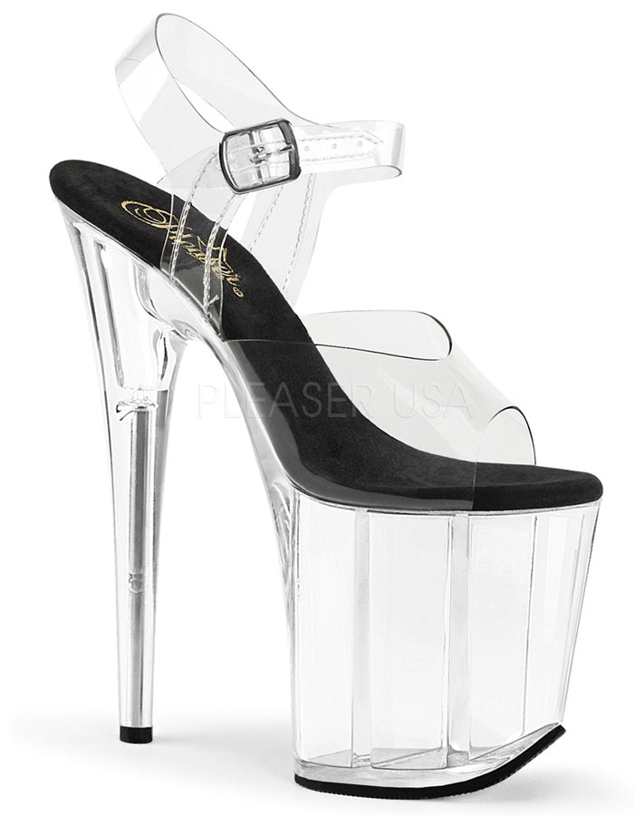 "Flamingo Black and Clear 8"" Heels"