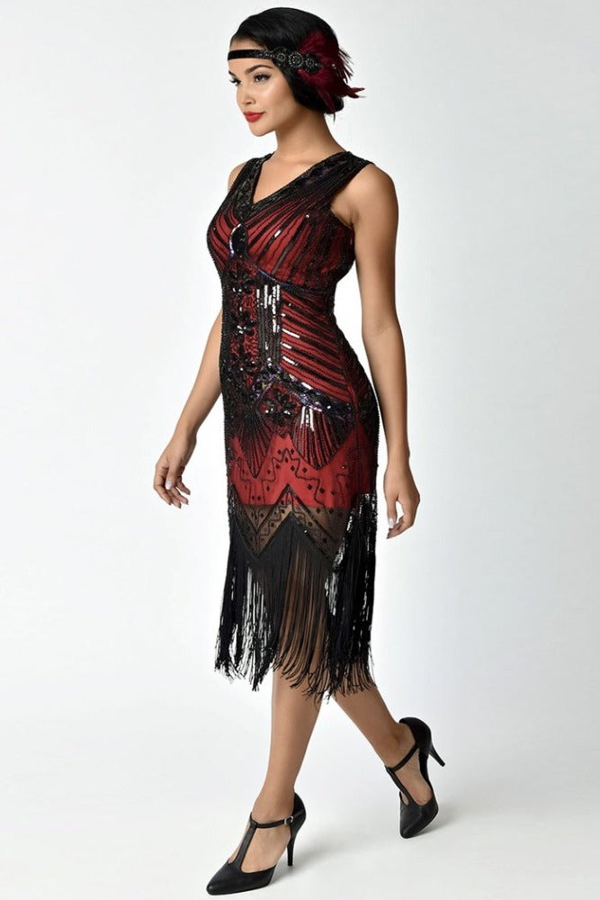 Daisy's Flapper Dress in Merlot