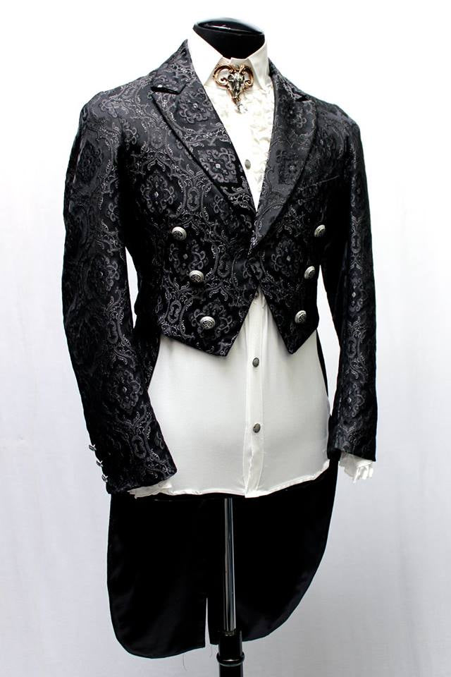 The Monte Cristo Tailcoat in Black Edwardian Brocade