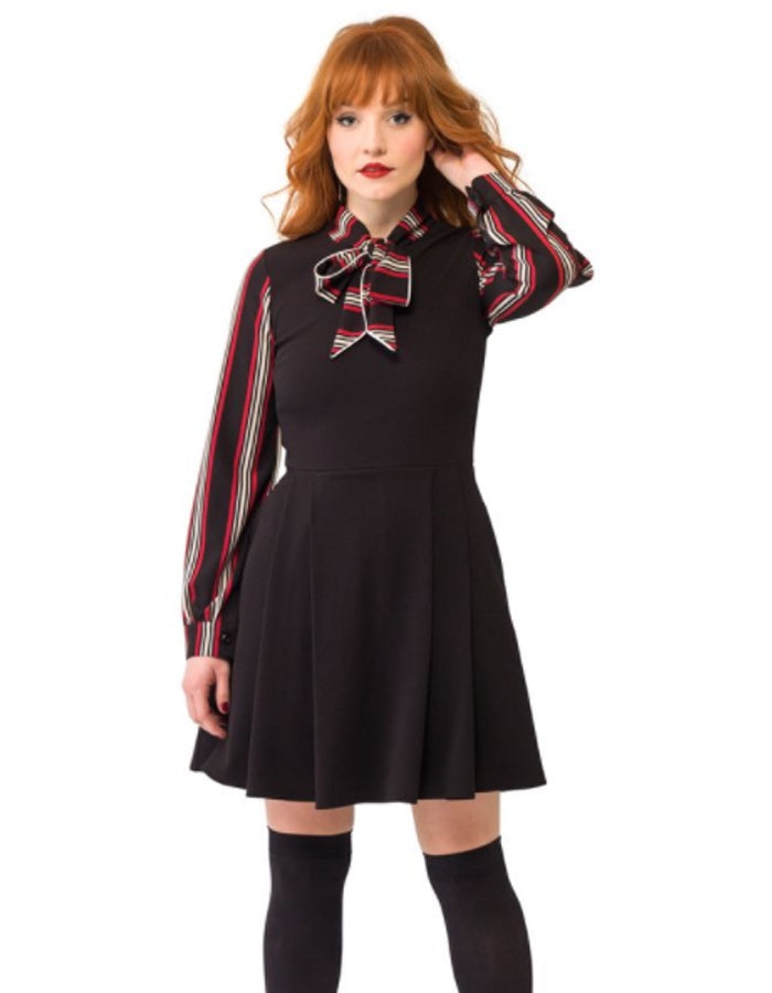 Penny Lane Black and Striped Dress