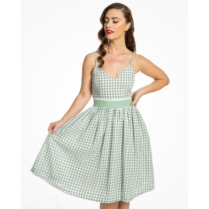The Honor Green Gingham Picnic Dress