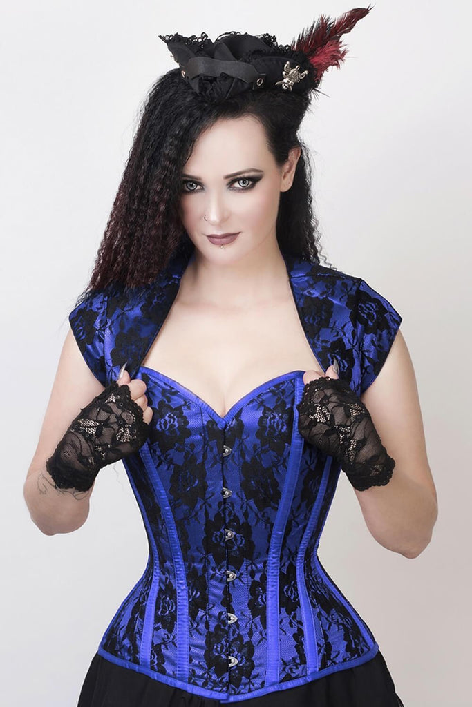 Sweetheart Vixen Corset & Bolero Set in True Blue