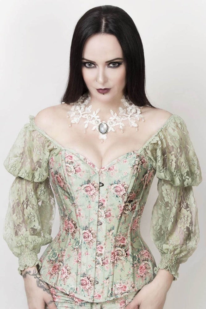 Queen of Castile Evening Overbust with Lace Sleeves