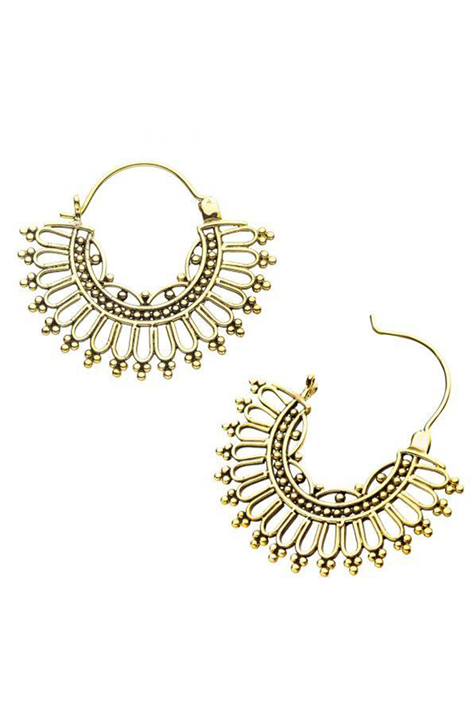 Gold Plated Brass Deco Hoops