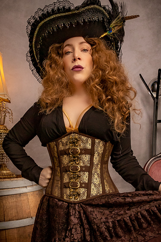 Royal Seas Damask Underbust Corset