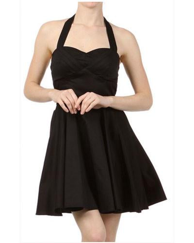 Nina's Tie-Back Mini Dress in Solid Black
