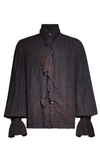 Starving Artist Men's Blouse in Black & Brown