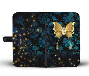 Butterfly Blue Floral Damask Wallet Phone Case