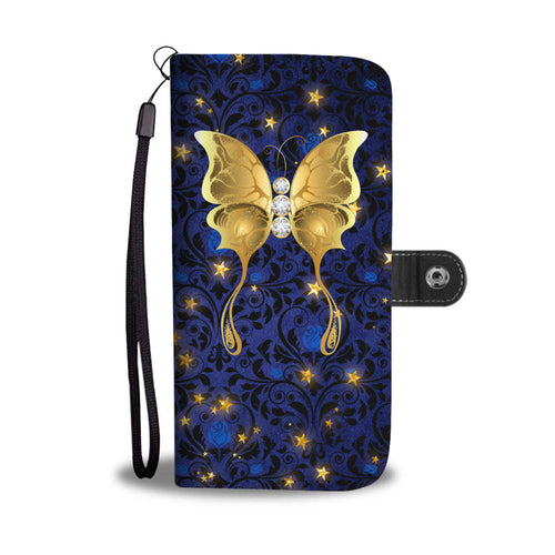 Butterfly Blue Rose Damask Wallet Phone Case