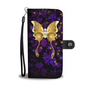 Butterfly Purple Floral Damask Wallet Phone Case