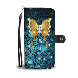 Butterfly Teal Rose Damask Wallet Phone Case