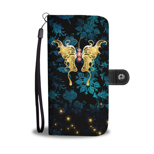 Red Jeweled Butterfly Blue Floral Damask Wallet Phone Case