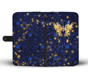 Red Jeweled Butterfly Blue Rose Damask Wallet Phone Case