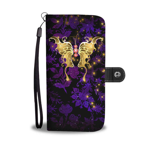 Red Jeweled Butterfly Purple Floral Damask Wallet Phone Case