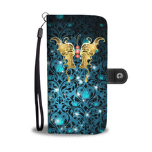 Red Jeweled Butterfly Teal Rose Damask Wallet Phone Case