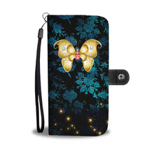 Red & White Jeweled Butterfly Blue Floral Damask Wallet Phone Case