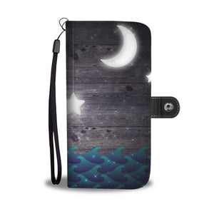 Moon at Night with Waves Cell Phone Case