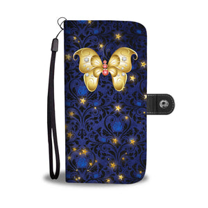 Red & White Jeweled Butterfly Blue Rose Damask Wallet Phone Case