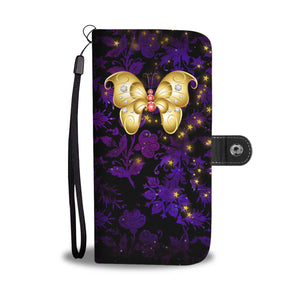Red & White Jeweled Butterfly Purple Floral Damask Wallet Phone Case