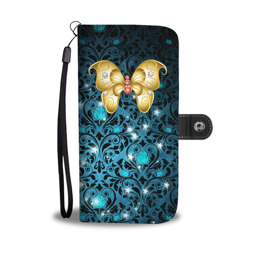 Red & White Jeweled Butterfly Teal Rose Damask Wallet Phone Case