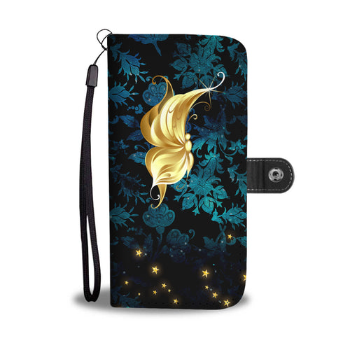 Profile Butterfly Blue Floral Damask Wallet Phone Case