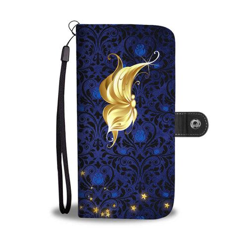 Profile Butterfly Blue Rose Damask Wallet Phone Case