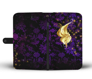 Profile Butterfly Purple Floral Damask Wallet Phone Case