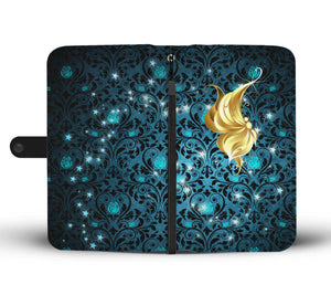 Profile Butterfly Teal Rose Damask Wallet Phone Case