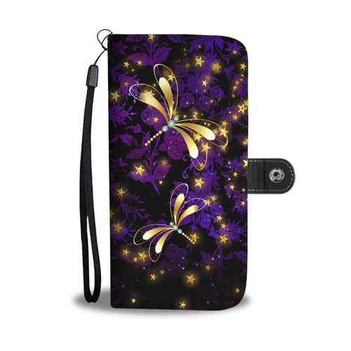 Dragonflies on Purple Floral Damask Wallet Phone Case