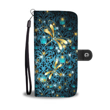Dragonflies on Teal Rose Damask Wallet Phone Case