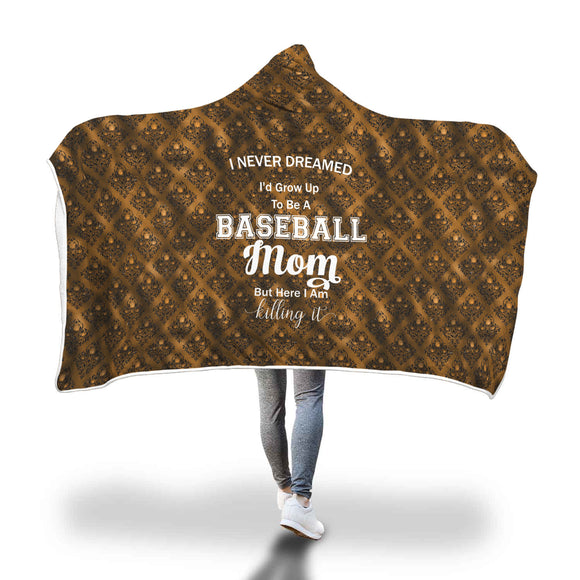 AHB-11320 Baseball Mom Killing It Copper Damask Hooded Blanket