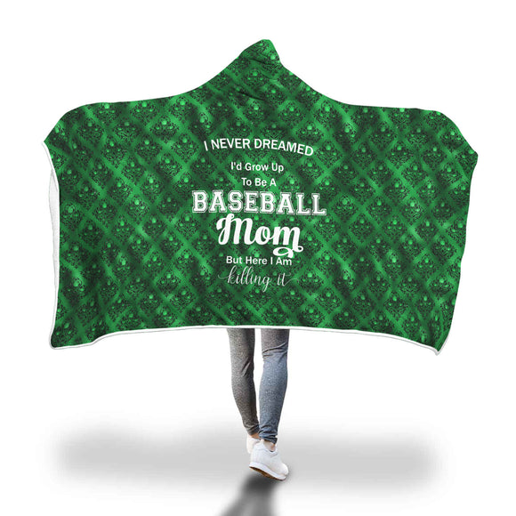 AHB-11330 Baseball Mom Killing It Emerald Damask Hooded Blanket