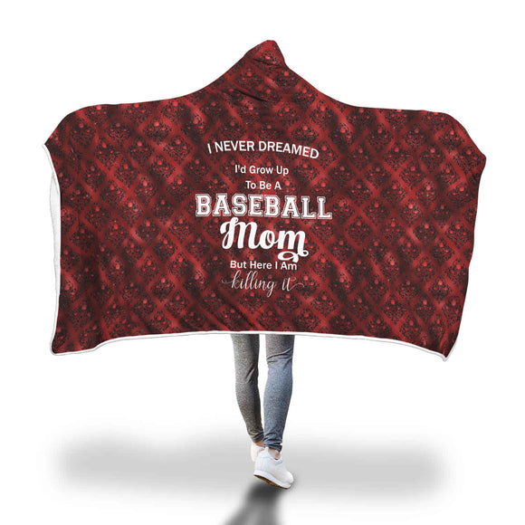 AHB-11340 Baseball Mom Killing It Red Damask Hooded Blanket