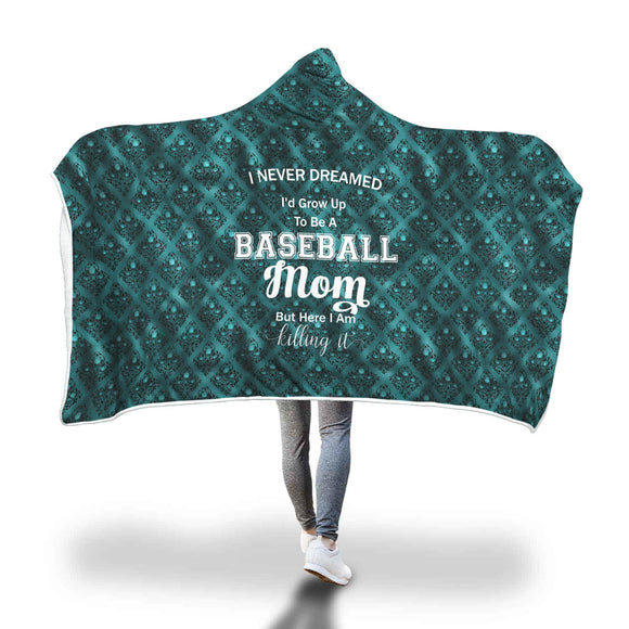 AHB-11350 Baseball Mom Killing It Teal Damask Hooded Blanket