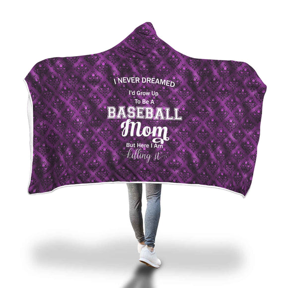 AHB-11360 Baseball Mom Killing It Violet Damask Hooded Blanket