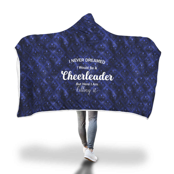 AHB-21300 Cheerleader Killing It Blue Rose Damask Hooded Blanket