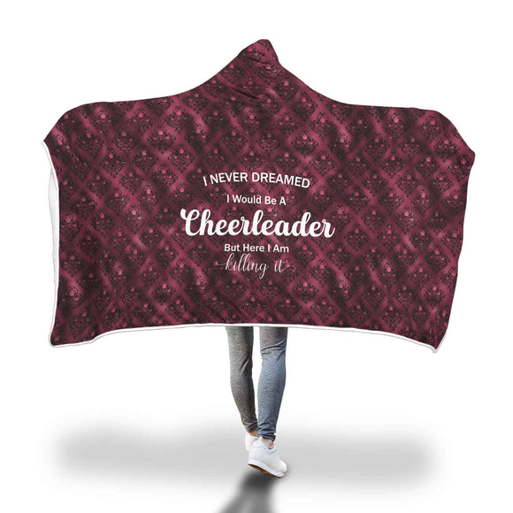 AHB-21310 Cheerleader Killing It Burgundy Rose Damask Hooded Blanket