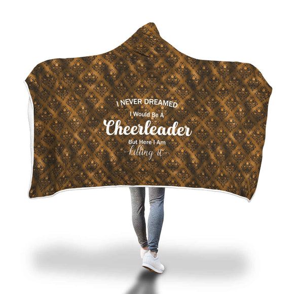 AHB-21320 Cheerleader Killing It Copper Rose Damask Hooded Blanket