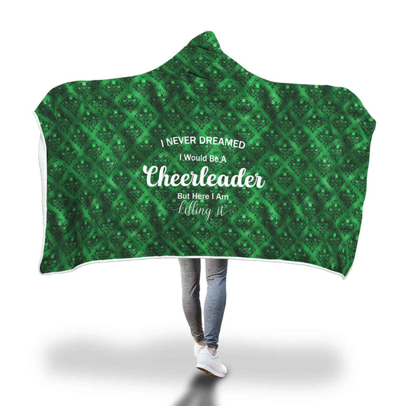 AHB-21330 Cheerleader Killing It Emerald Rose Damask Hooded Blanket