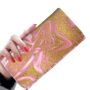 Gold Gild with Pink Marble Wallet Purse