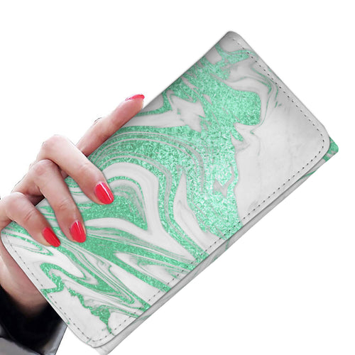 White with Mint Gild Marble Wallet Case