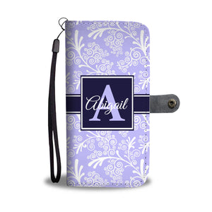Blue Leaves and Swirls Damask Monogram Cell Wallet Case (MON-1)