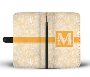 Buff Leaves and Swirls Damask Monogram Cell Wallet Case (MON-2)