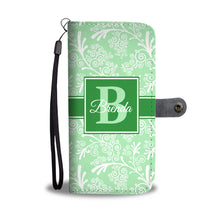 Green Leaves and Swirls Damask Monogram Cell Wallet Case (MON-3)