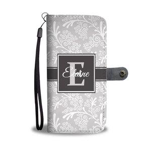 Grey Leaves and Swirls Damask Monogram Cell Wallet Case (MON-4)